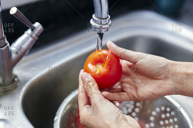 Close-up of hands washing tomato in sink