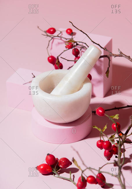 Mortar and pestle with rosehips on pink background
