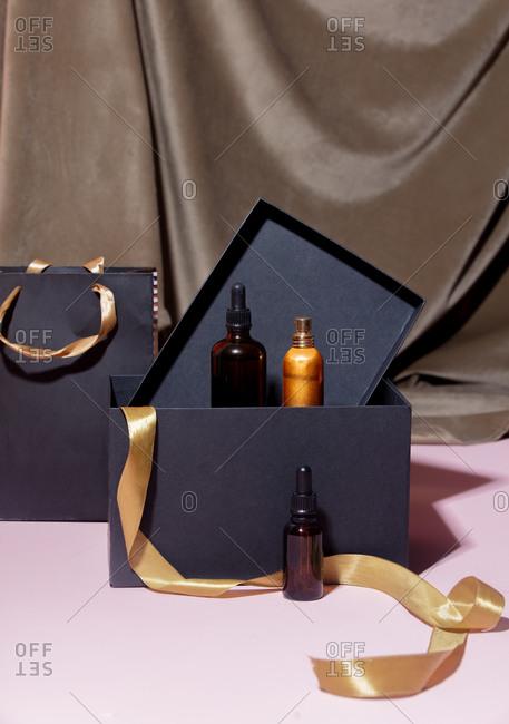 Oil bottle and black gift box