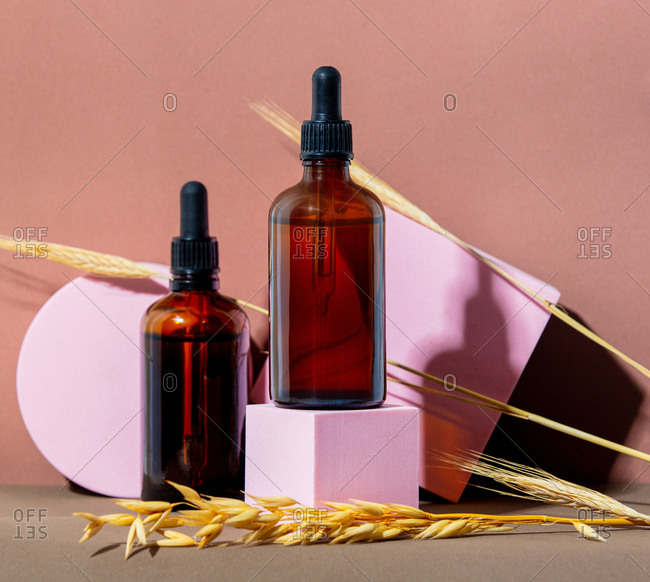 Oil bottles with wheat spikelets and geometric objects on color background