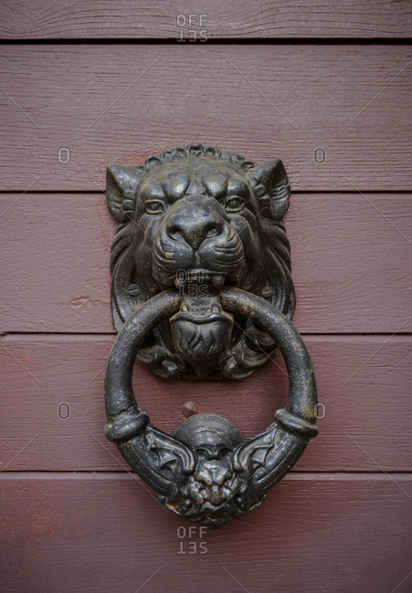 A lion doorknob and bell on a wooden door in the mediaeval town of Puy-l'Eveque in the Lot department within the Occitanie region of southern France