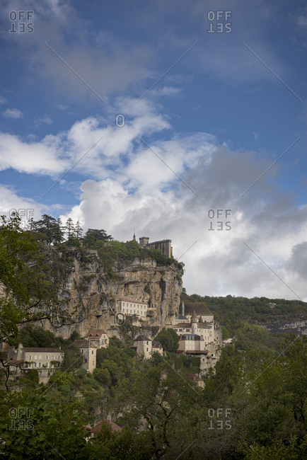 Castle, churches and chapels in the holy clifftop town of Rocamadour in the Alzou Canyon in the Lot department within the Occitanie region of southern France