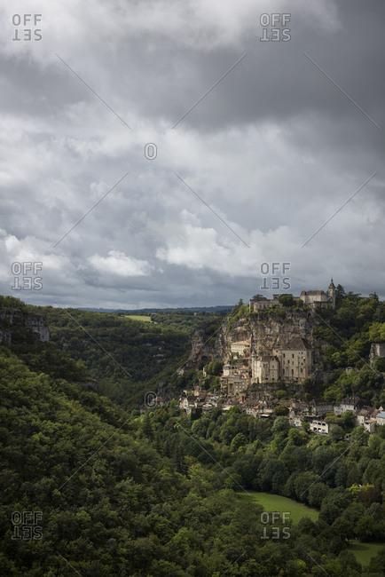 The medieval town of Rocamadour on a holy clifftop city in the Alzou Canyon in the Lot department within the Occitanie region of southern France