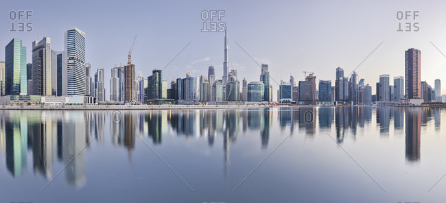 January 20, 2020: Skyscraper, Business Bay, Burj Khalifa, Dubai, United Arab Emirates