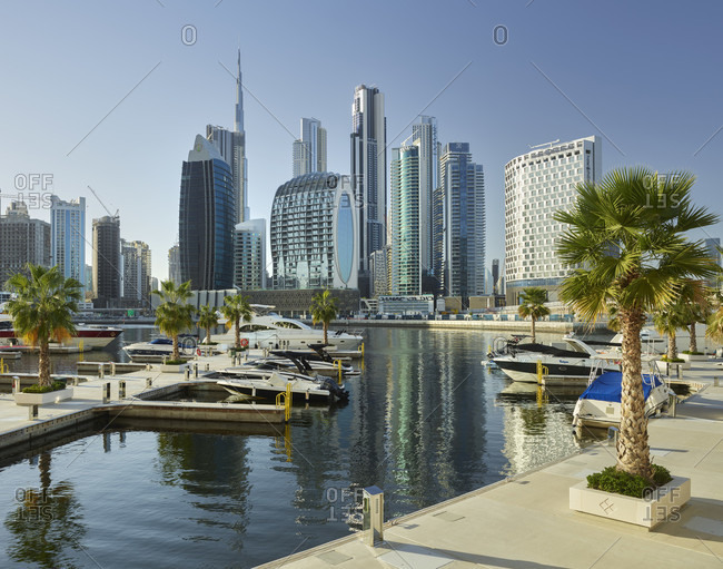 January 20, 2020: Downtown Dubai from a marina in Dubai Creek, Al Noor Tower, Dubai, United Arab Emirates