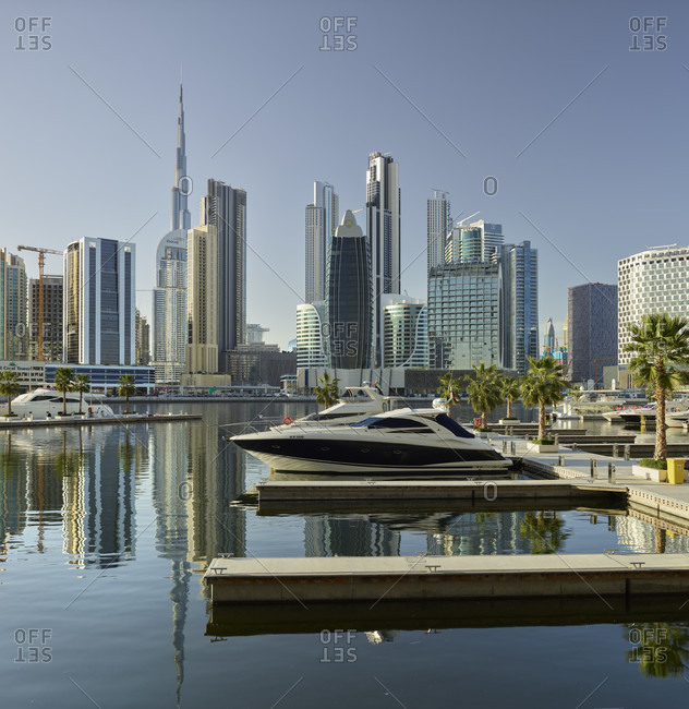 January 20, 2020: Downtown Dubai from a marina in Dubai Creek, Dubai, United Arab Emirates