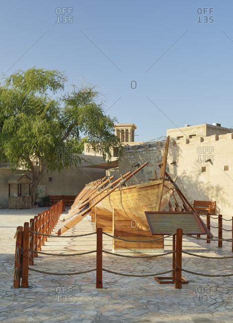 January 22, 2020: Al-Bastakiyya Quarter, Al Fahidi's Boot, Dubai, United Arab Emirates