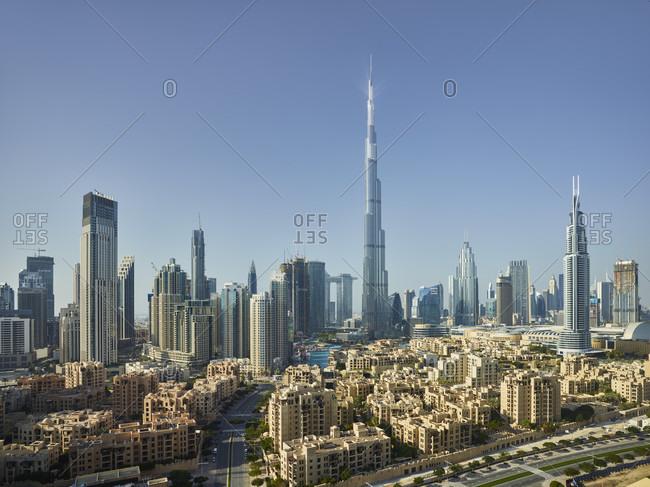 January 22, 2020: View from South Ridge to Downtown Dubai, Burj Khalifa, Dubai, United Arab Emirates