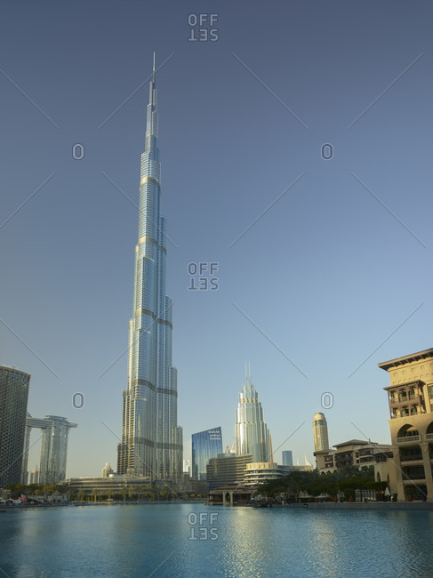 January 22, 2020: Downtown Dubai, Burj Khalifa, Burj Lake, Dubai, United Arab Emirates