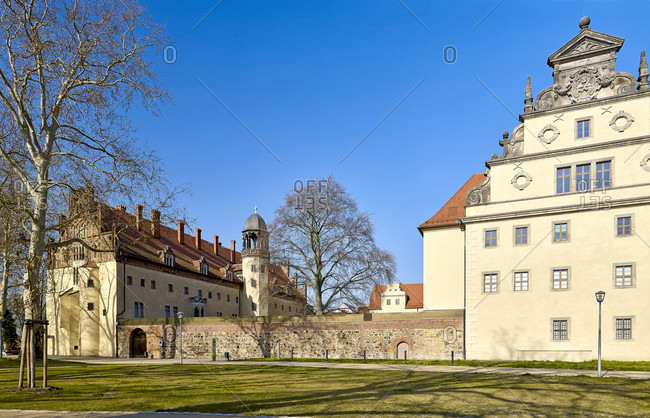Lutherhaus and Augusteum from the former parish garden, Wittenberg, Saxony-Anhalt, Germany