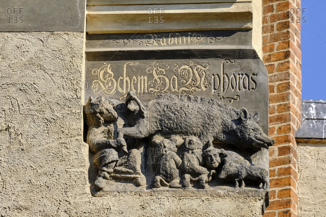 April 8, 2020: Medieval abusive plastic on the Jewish religion at the St. Marien city church in Wittenberg, Saxony-Anhalt, Germany