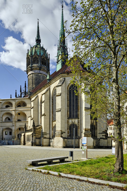 April 13, 2020: Castle and castle church in Wittenberg, Saxony-Anhalt, Germany
