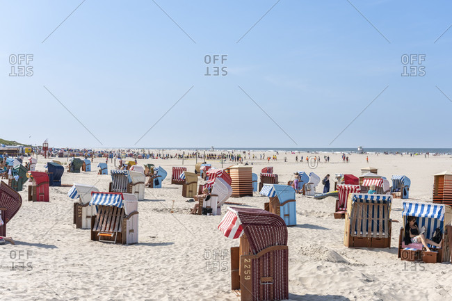 August 21, 2019: Germany, Lower Saxony, East Frisia, Juist, main beach with beach chairs.