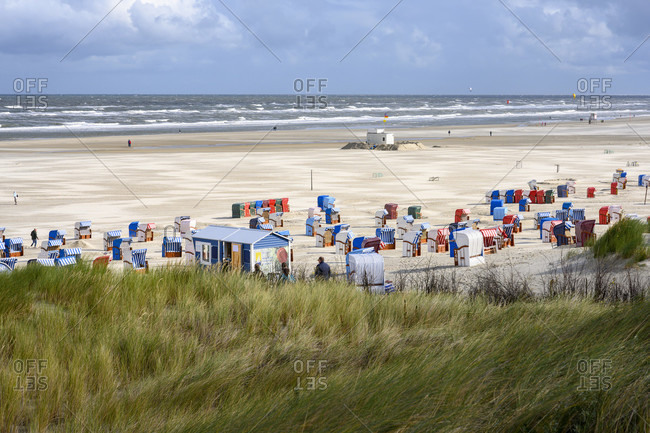 September 5, 2019: Germany, Lower Saxony, East Frisia, Juist, the beach with beach chairs.
