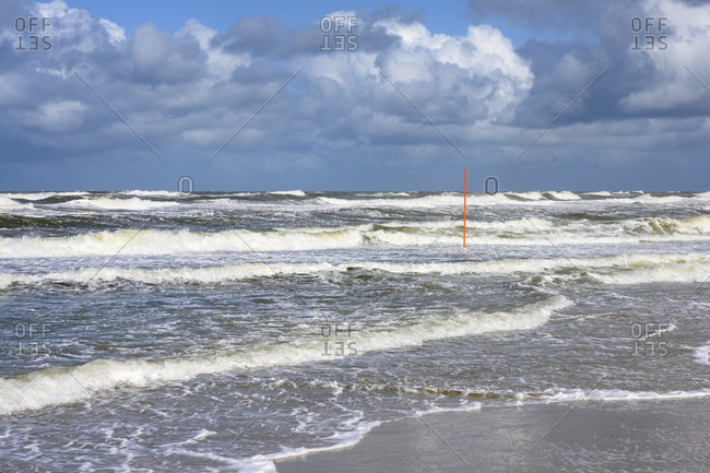 Germany, Lower Saxony, East Frisia, Juist, stormy weather on the beach.
