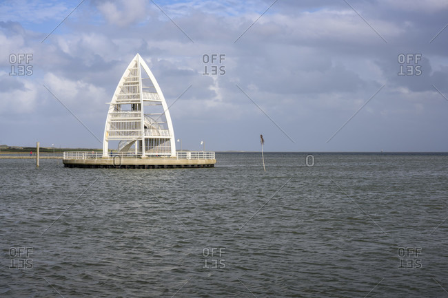 Germany, Lower Saxony, East Frisia, Juist, the sea mark at the port entrance.