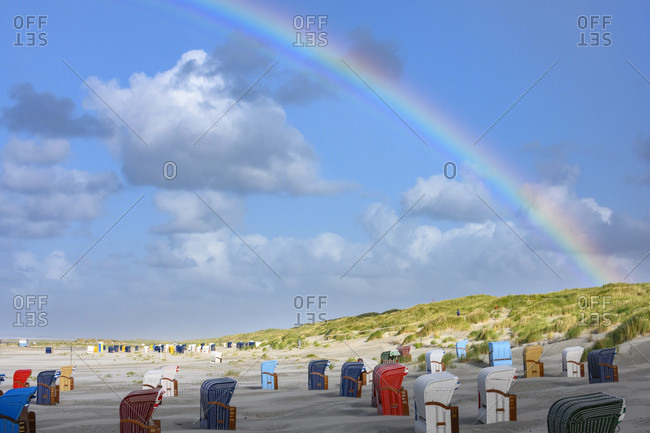 Germany, Lower Saxony, East Frisia, Juist, rainbow on the beach.