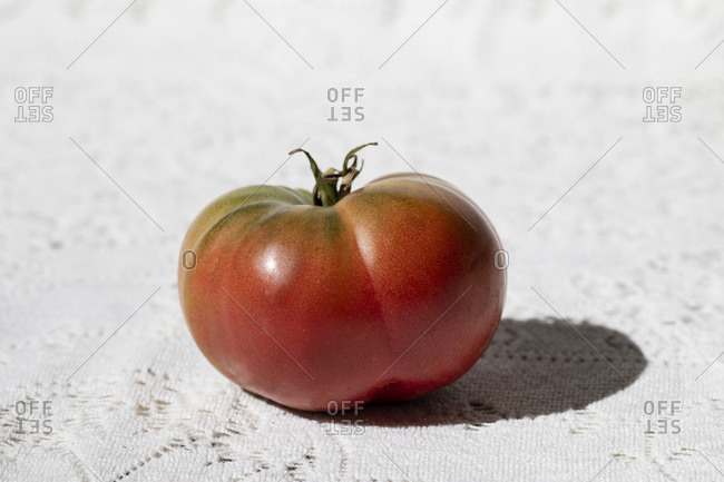 Tomato with Shadow on White Background