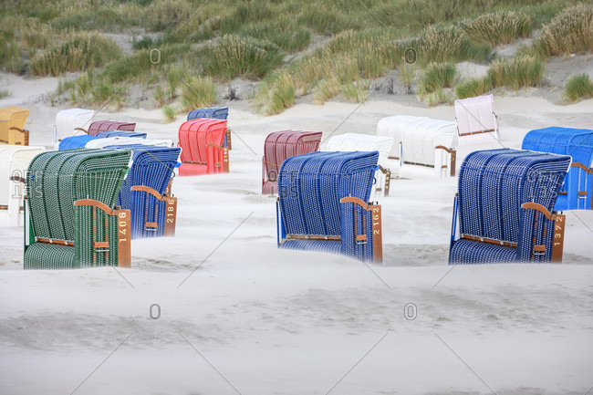 Germany, Lower Saxony, East Frisia, Juist, beach chairs.