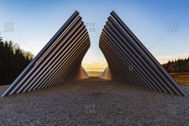 February 15, 2020: Narrow and wide horizon, artwork by Atelier Burchard, artist Martin Burchard, Swabian Jura, Baden-Wurttemberg, Germany, Europe