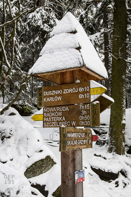 February 13, 2020: Europe, Poland, Europe, Poland, Lower Silesia, Szczeliniec Wielki / Szczeliniec Wielki / Stolowe Mountains National Park