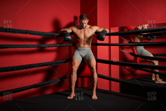 Full body of exhausted muscular male kickboxer taking break in red corner of boxing ring after intense workout