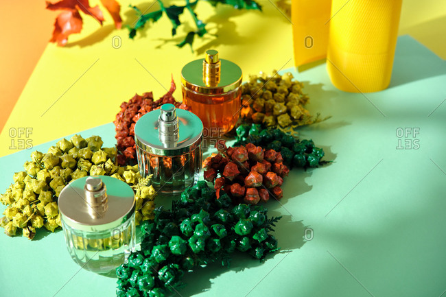 From above of shiny glass bottles of handmade luxury perfume arranged on table with sprigs of thuja