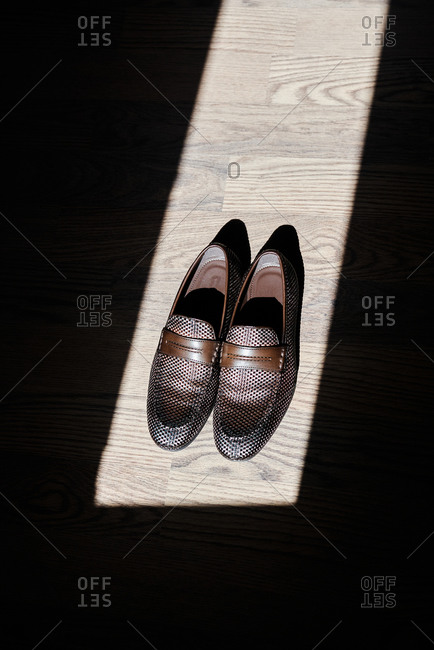 Pair of leather loafers placed on wooden floor illuminated by sunlight in room of modern apartment