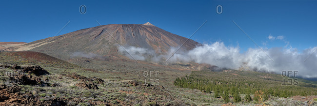 Amazing panorama view of volcano of Teide in Tenerife, Spain on background of clear blue sky