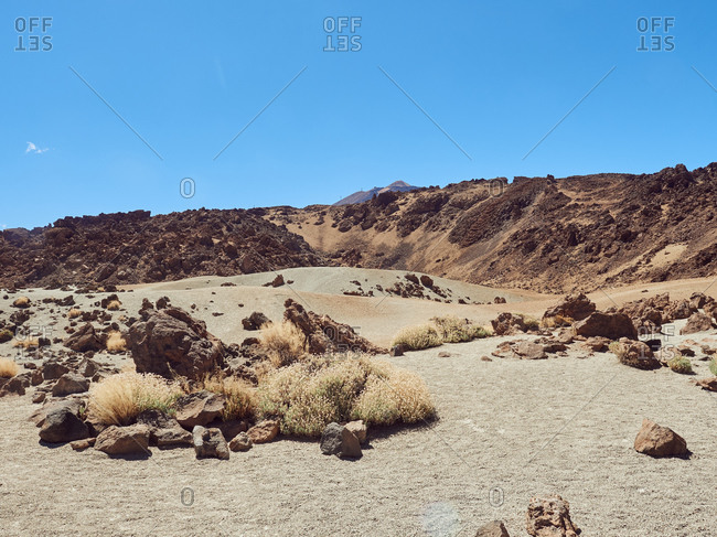 Amazing view of Teide in Tenerife, Spain on background of clear blue sky