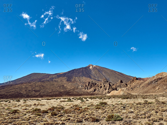 Amazing view of volcano of Teide in Tenerife, Spain on background of clear blue sky