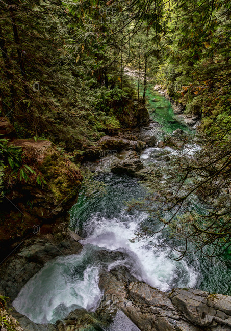 Picturesque landscape of fast narrow creek with waterfall streaming down rocky mountain slop with green forest