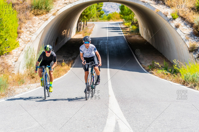 Full length of bicyclists in sportswear and helmets cycling together on asphalt roadway under arched bridge in summer countryside