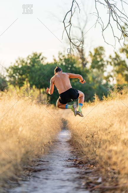 Full body back view of unrecognizable shirtless male athlete jumping high over narrow footpath among tall grass during outdoor workout in nature