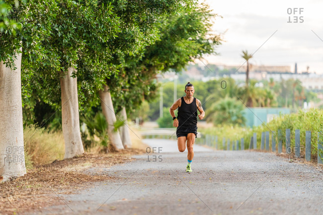 Sportive male athlete in activewear running along path in park during cardio workout in summer