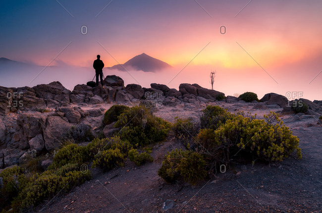 Back view of anonymous photographer explorer standing on rock and observing majestic scenery of mountains under thick fog in morning during vacation in Tenerife