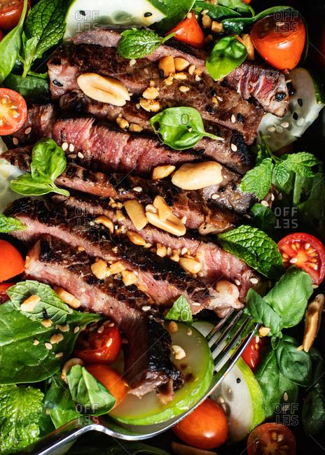 Close-up beef Thai salad on dish