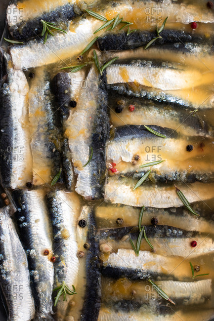 Top view of heap of delectable marinated sardine fish with aromatic spices and herbs