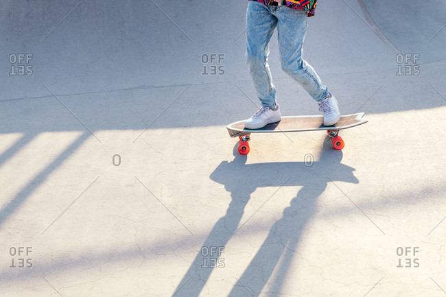 Unrecognizable stylish skater in jeans and sneakers standing on skateboard in skatepark on sunny day in summer