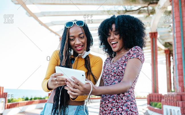 Laughing African American female with curly hair and black woman with braids standing on promenade in summer and watching funny video together on cellphone
