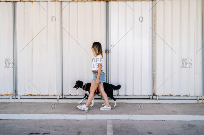 Full body side view of young female in casual outfit walking with big dog near metal wall of urban building