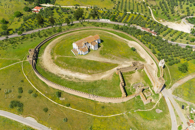 Aerial view of the circular castle in the town of Arraiolos , Portugal.