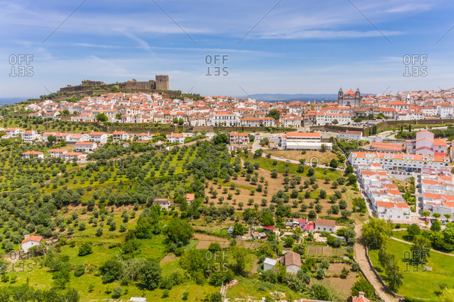 Aerial view of Castelo de Vide perched above the town below, Portugal.