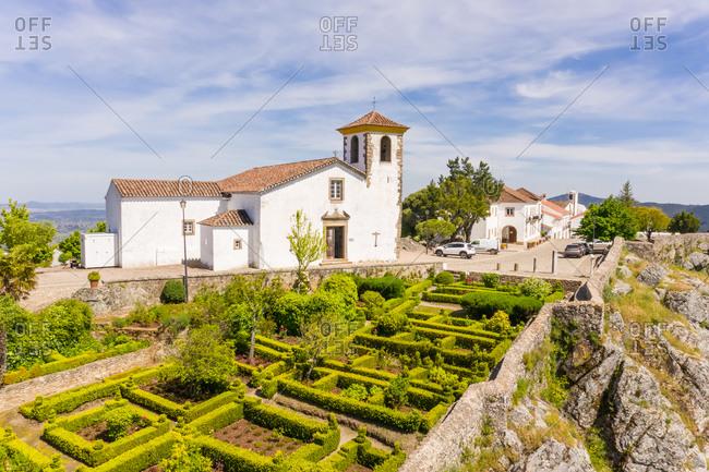 May 18, 2020: Aerial view of interior gardens of Santa Maria de Marvao, Portugal.