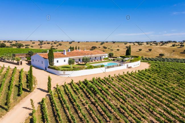 May 18, 2020: Aerial view of Vineyard estate, Albernoa, Portugal.