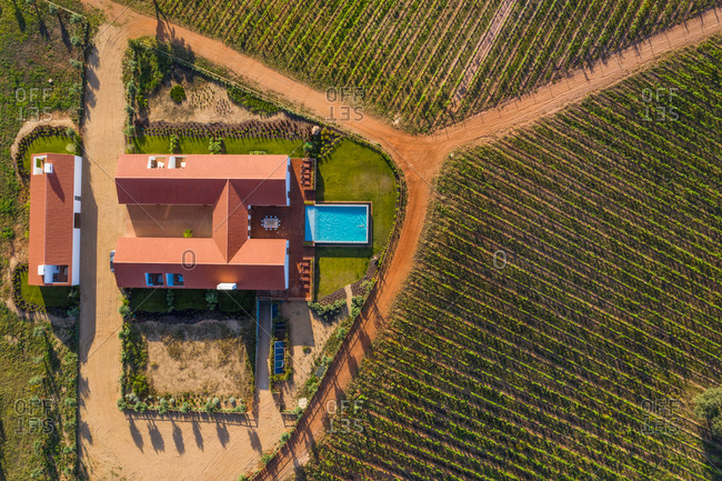 Aerial view of Vineyard estate with house and swimming pool, Albernoa, Portugal.