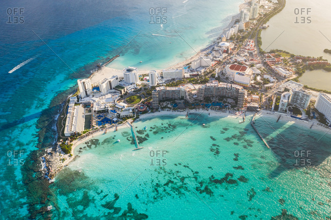 Aerial view of hotel resorts at Punta Cancun in Cancun, Mexico.