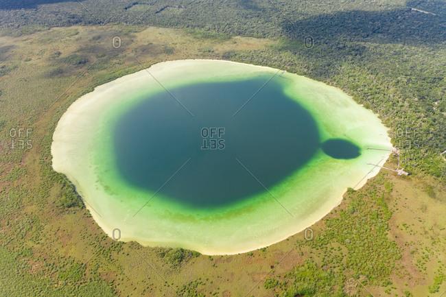 Aerial view of Laguna de Kaan Luum lagoon, Tulum, Mexico.