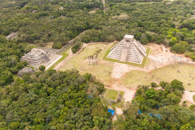 Aerial view of Chichen Itza pyramids, Mexico.