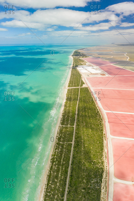 Aerial view of Las Coloradas lagoon and sea along the coast of Yucatan, Mexico.